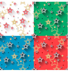 star seamless patterns set vector image vector image