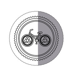 Sticker monochrome of circular frame with bike vector