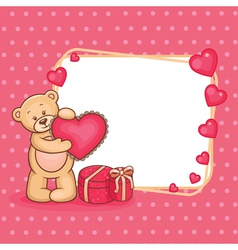 valentine teddy and sign vector image vector image
