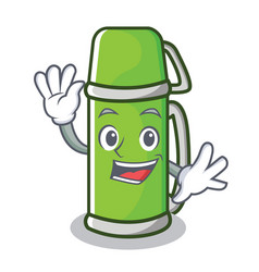 Waving thermos character cartoon style vector