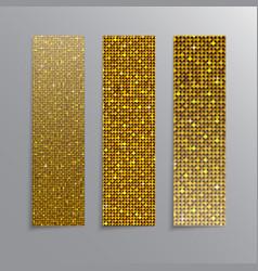 Vertical set Gold sequins banners Glitter vector image
