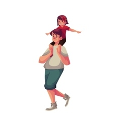 Little daughter sitting on father shoulders and vector