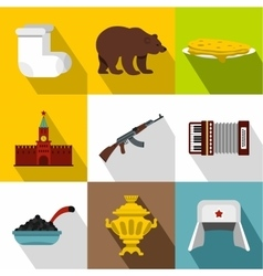 Russia icons set flat style vector