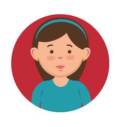 brunette girl icon vector image
