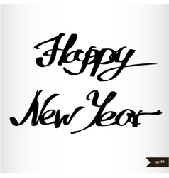 Handwritten calligraphic watercolor happy new year vector