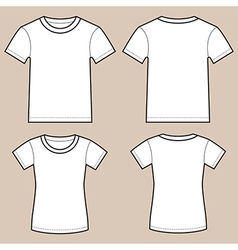 Set of blank male and female shirts vector