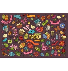 Easter hand drawn symbols and objects vector