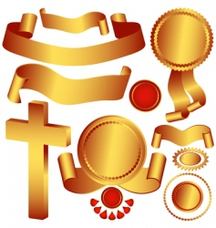 set metallic ribbons and labels vector image