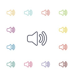 Sound flat icons set vector