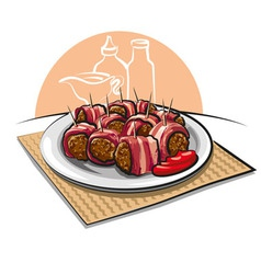 Bacon wrapped meatballs vector