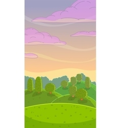 Funny cartoon evening nature landscape vector