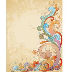 vimtage swirl floral vector image
