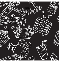 Cartoon doodles hand drawn cinema seamless vector image