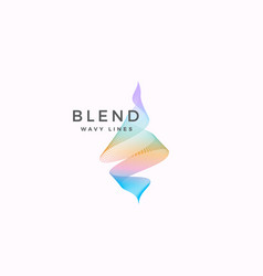 Abstract blend wavy logo template elegant vector