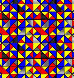 Bright colored pattern with squares and triangles vector
