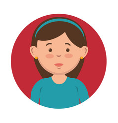 brunette girl icon vector image