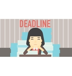 Business woman having problem with deadline vector