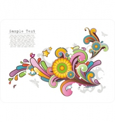 colored ornament with floral motives vector image