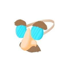 Comedy fake nose mustache eyebrows glasses icon vector