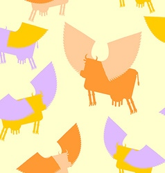 Cow wings seamless pattern colored silhouettes vector