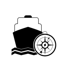 cruise ship and compass icon vector image vector image