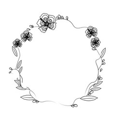 Floral wreath flowers decoration line vector
