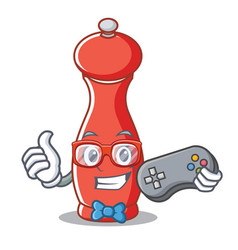 Gamer pepper mill character cartoon vector