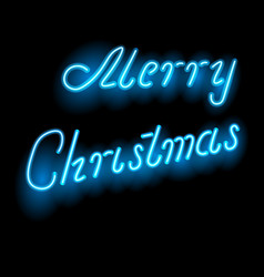 greeting the words of merry christmas neon light vector image