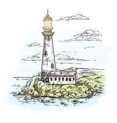 Lighthouse on island with rocks sketch vector