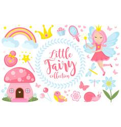 Little fairy set cartoon style cute and mystical vector