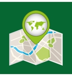 Map pin green world icon vector