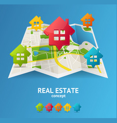 realistic 3d detailed city map real estate concept vector image