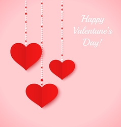Red paper hearts and color dots on pink background vector image