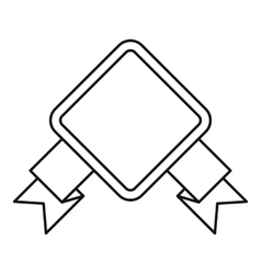 Rhombic banner icon outline style vector