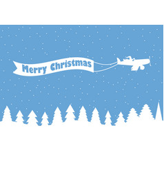 santa claus on a plane with a ribbon winter vector image vector image