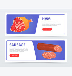sausage and ham horizontal banners with text set vector image