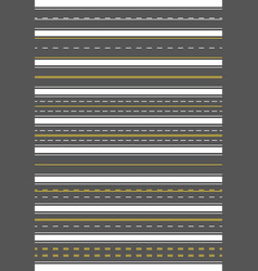 seamless set of nine different road marking top vector image vector image