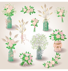 Set of bouquets vector