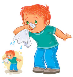 Sick little boy blowing his nose in a handkerchief vector