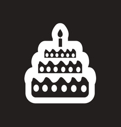 Style black and white icon birthday cake with vector