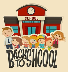 Teachers and children at school vector image