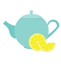 Teapot with lemon blue tea kettle vector