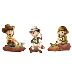 Three young explorers vector image