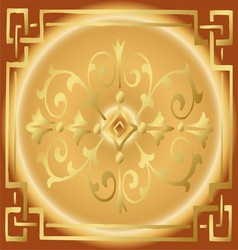 Vintage Golden Background Design with Border vector image vector image