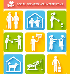 Volunteer icons set flat vector image