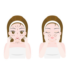 Woman massage and scrub face vector