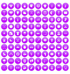 100 baseball icons set purple vector