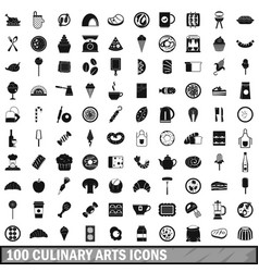 100 culinary arts icons set simple style vector image vector image