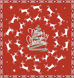 red Christmas card with flying deer vector image