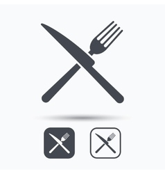 Fork and knife icons cutlery sign vector